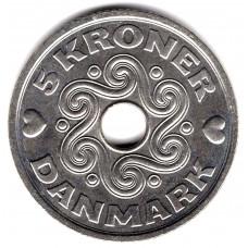 5 крон 1997 Дания - 5 kroner 1997 Denmark, из оборота