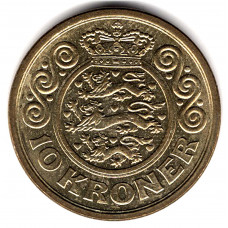 10 крон 1997 Дания - 10 kroner 1997 Denmark, из оборота