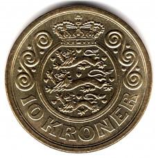 10 крон 1995 Дания - 10 kroner 1995 Denmark, из оборота