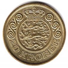 20 крон 1996 Дания - 20 kroner 1996 Denmark, из оборота