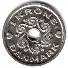 1 крона 1997 Дания - 1 krone 1997 Denmark, из оборота