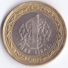 1 лира 2012 Турция - 1 lira 2012 Turkey, из оборота