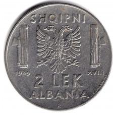 2 лека 1939 Албания - 2 leks 1939 Albania, из оборота