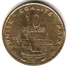 10 франков 1991 Джибути - 10 francs 1991 Djibouti из оборота