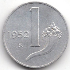1 лира 1952 Италия - 1 lira 1952 Italy, из оборота