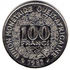 100 франков 1982 Западная Африка - 100 francs 1982 West Africa, из оборота