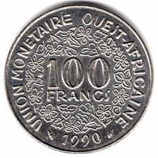 100 франков 1990 Западная Африка - 100 francs 1990 West Africa, из оборота