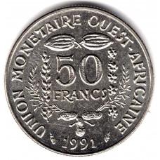 50 франков 1991 Западная Африка - 50 francs 1991 West Africa, из оборота