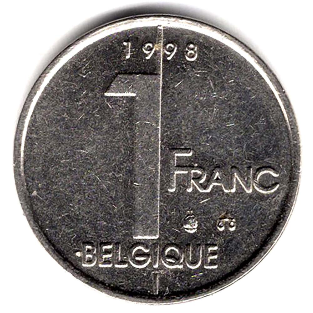 1 франк 1998 Бельгия - 1 franc 1998 Belgium, 'BELGIQUE', из оборота