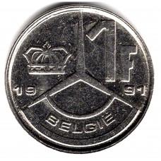 1 франк 1991 Бельгия - 1 franc 1991 Belgium, BELGIE, из оборота