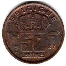 50 сантимов 1987 Бельгия - 50 centimes 1987 Belgium, BELGIQUE, из оборота