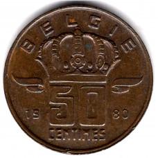50 сантимов 1980 Бельгия - 50 centimes 1980 Belgium, BELGIE, из оборота
