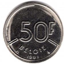 50 франков 1991 Бельгия - 50 francs 1991 Belgium, BELGIE, из оборота