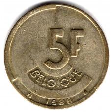 5 франков 1988 Бельгия - 5 francs 1988 Belgium, BELGIQUE, из оборота