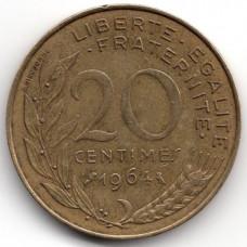 20 сантимов 1964 Франция - 20 centimes 1964 France, из оборота
