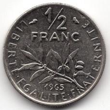1/2 франка 1965 Франция - 1/2 franc 1965 France, из оборота