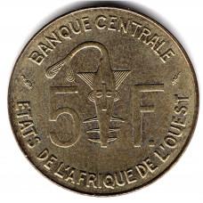 5 франков 1993 Западная Африка - 5 francs 1993 West Africa, из оборота