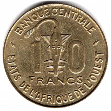 10 франков 1989 Западная Африка - 10 francs 1989 Western Africa, из оборота