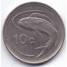 10 центов 1986 Мальта - 10 cents 1986 Malta, из оборота