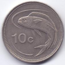 10 центов 1991 Мальта - 10 cents 1991 Malta, из оборота
