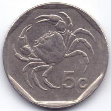 5 центов 1995 Мальта - 5 cents 1995 Malta, из оборота