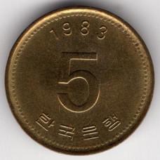 5 вон 1983 Южная Корея - 5 won 1983 South Korea, из оборота