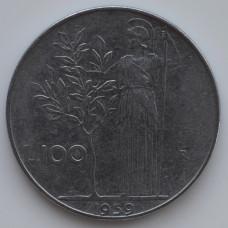 100 лир 1959 Италия - 100 lire 1959 Italy, из оборота