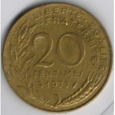 20 сантимов 1977 Франция - 20 centimes 1977 France, из оборота