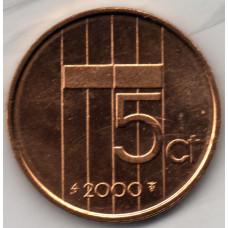 5 центов 2000 Нидерланды - 5 cents 2000 Netherlands, из оборота