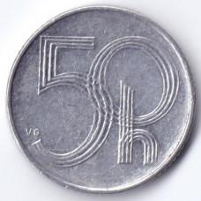 50 геллеров 1993 Чехия - 50 hellers 1993 Czech Republic, из оборота