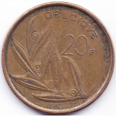 20 франков 1982 Бельгия - 20 francs 1982 Belgium (BELGIQUE), из оборота