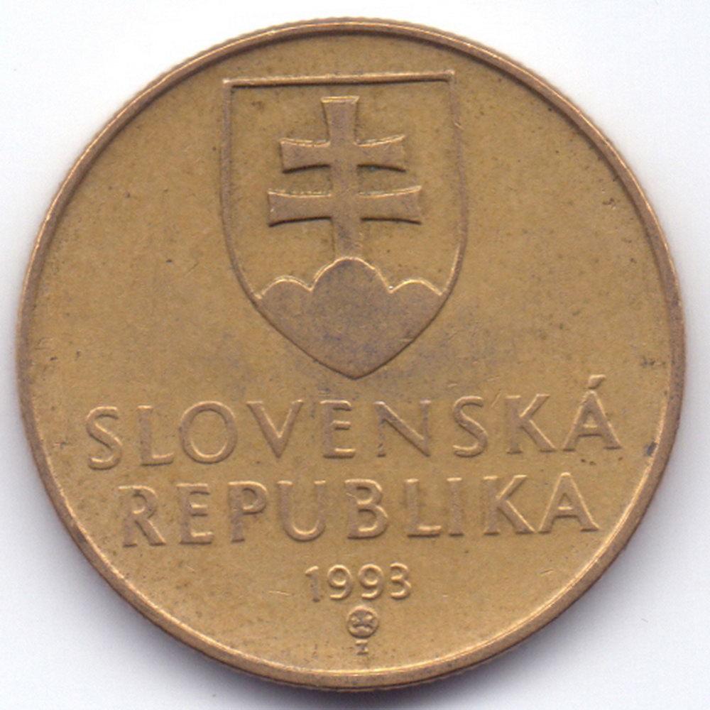 1 крона 1993 Словакия - 1 koruna 1993 Slovakia, из оборота