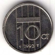 10 центов 1993 Нидерланды - 10 cents 1993 Netherlands, из оборота
