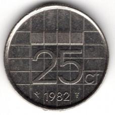 25 центов 1982 Нидерланды - 25 cents 1982 Netherlands, из оборота