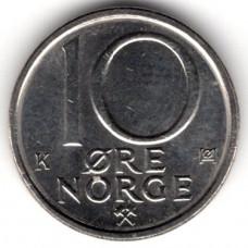 10 эре 1991 Норвегия - 10 ore 1991 Norway, из оборота