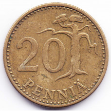 20 пенни 1971 Финляндия - 20 pennies 1971 Finland, из оборота