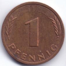 1 пфенниг 1989 Германия (ФРГ) - 1 pfennig 1989 Germany, F, из оборота