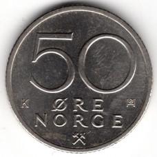50 эре 1989 Норвегия - 50 ore 1989 Norway, из оборота