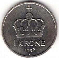 1 крона 1992 Норвегия - 1 krone 1992 Norway, из оборота