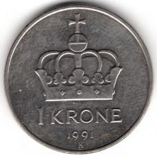 1 крона 1991 Норвегия - 1 krone 1991 Norway, из оборота
