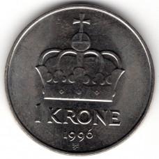 1 крона 1996 Норвегия - 1 krone 1996 Norway, из оборота