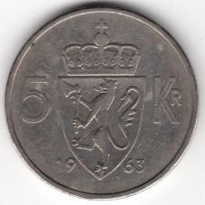 5 крон 1963 Норвегия - 5 krone 1963 Norway, из оборота