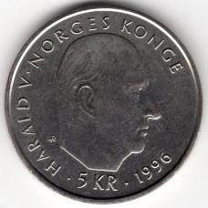 5 крон 1996 Норвегия - 5 krone 1996 Norway, из оборота