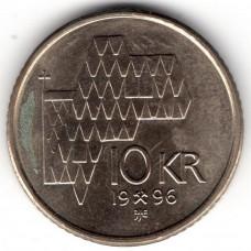 10 крон 1996 Норвегия - 10 krone 1996 Norway, из оборота