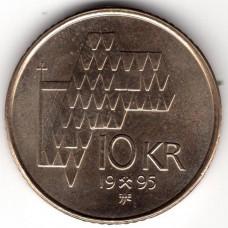 10 крон 1995 Норвегия - 10 krone 1995 Norway, из оборота