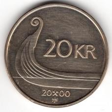 20 крон 2000 Норвегия - 20 krone 2000 Norway, из оборота