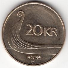 20 крон 1994 Норвегия - 20 krone 1994 Norway, из оборота
