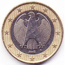 1 евро 2002 Германия - 1 euro 2002 Germany, D, из оборота
