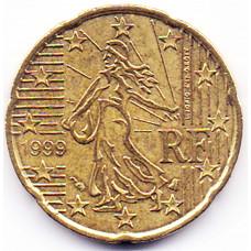20 евроцентов 1999 года Франция - 20 euro cent 1999 France, из оборота