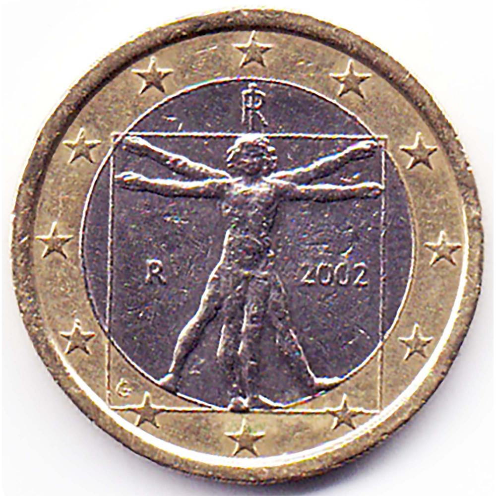 1 евро 2002 года Италия - 1 euro 2002 Italy, из оборота